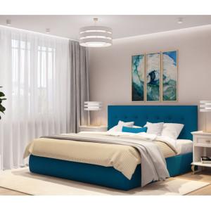 Кровать Селеста синяя (ткань) с подъемным механизмом