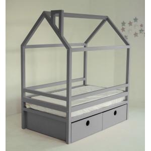 Детская кровать домик AnderSon Дрима BOX серая