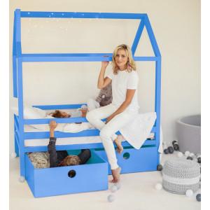 Детская кровать домик AnderSon Дрима BOX голубая