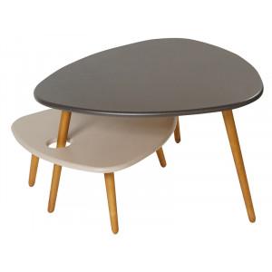 Журнальный столик Стилгрей (Серый лен / бежевый лен)