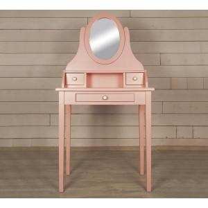 Туалетный столик с зеркалом Adelina в розовом цвете