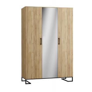 Шкаф 3-створчатый с зеркалом Loft Дуб Натур