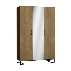 Шкаф 3-створчатый с зеркалом Loft Дуб Табак