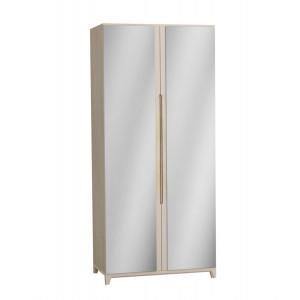 Шкаф 2-х створчатый с зеркалами Сканди Жемчужно-белый
