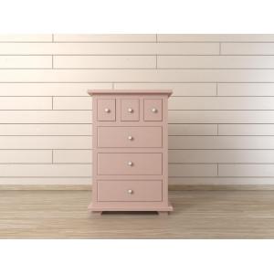 Комод Adelina 6 ящиков в розовом цвете