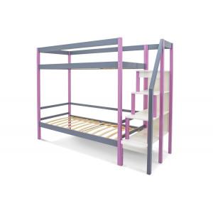 Двухъярусная кровать Svogen лаванда-графит