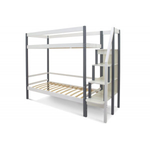 Двухъярусная кровать Svogen графит-белый